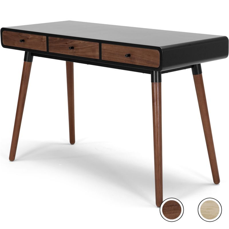 Edelweiss Desk Walnut And Black From Made Com Dark Wood Black