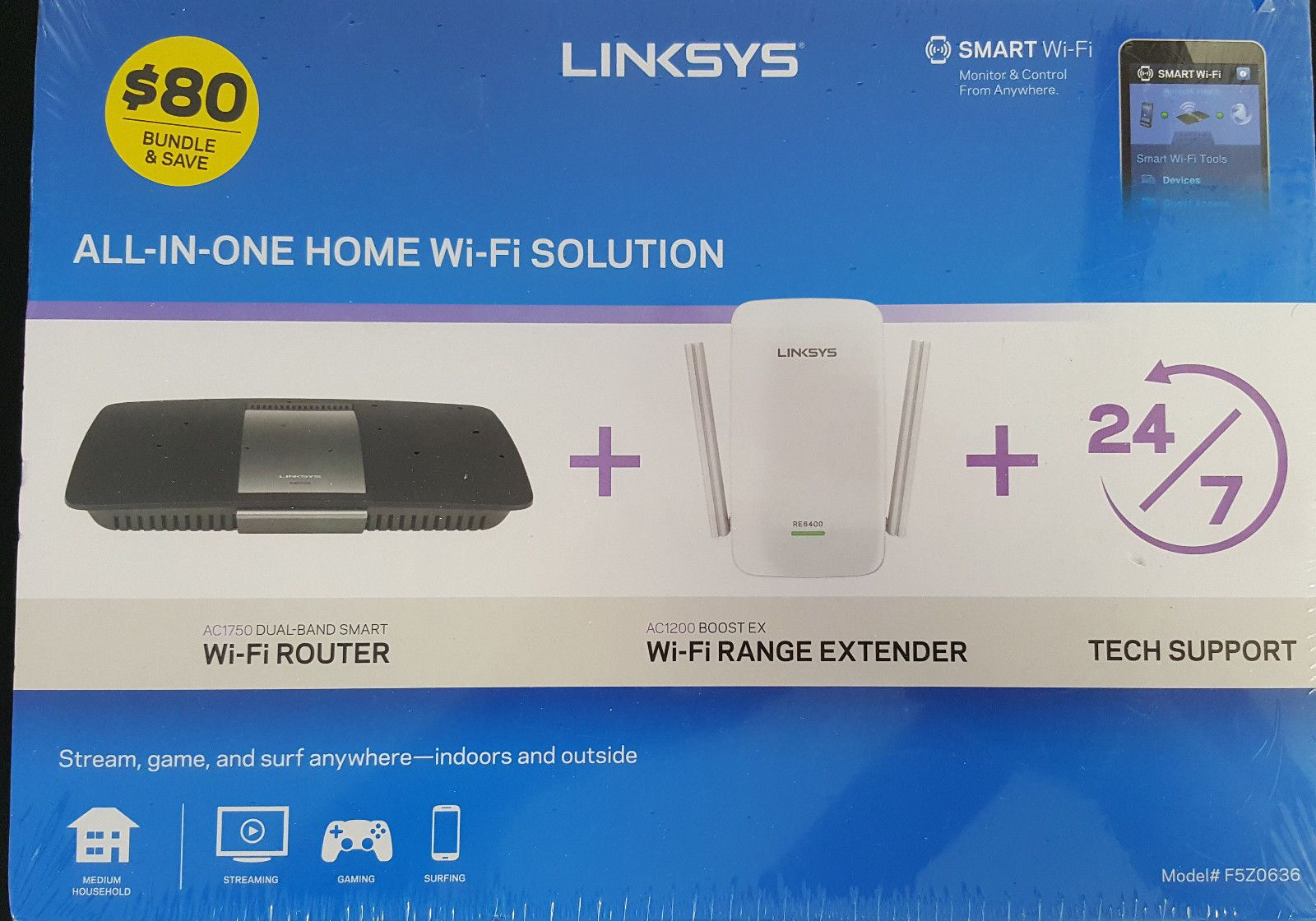 Linksys F5z0636 Ac1750 Wi Fi Router Ac1200 Boost Extender New In Box Linksys Router Wifi