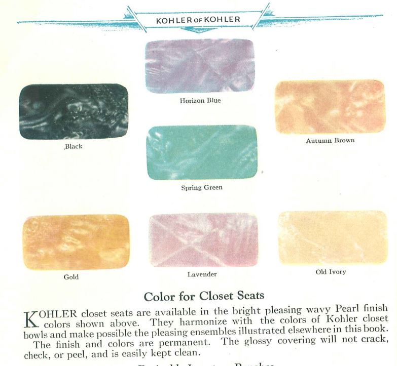 Colorful Marbleized Kohler Toilet Seats From 1929 With Images