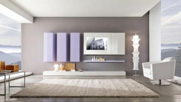 Wandgestaltung mit grauer und weißer farbe großes teppich