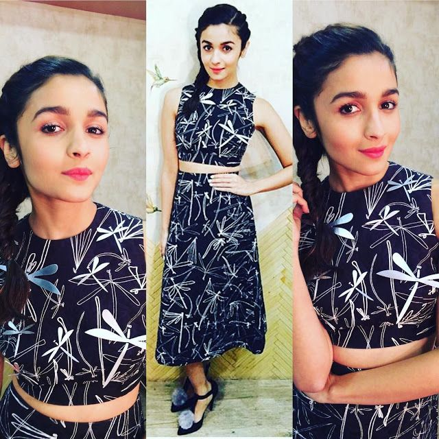 8c5471d40201c3 Alia Bhatt is looking stylish in A.W.A.K.E skirt and crop top combination ~  Sha s Inkling