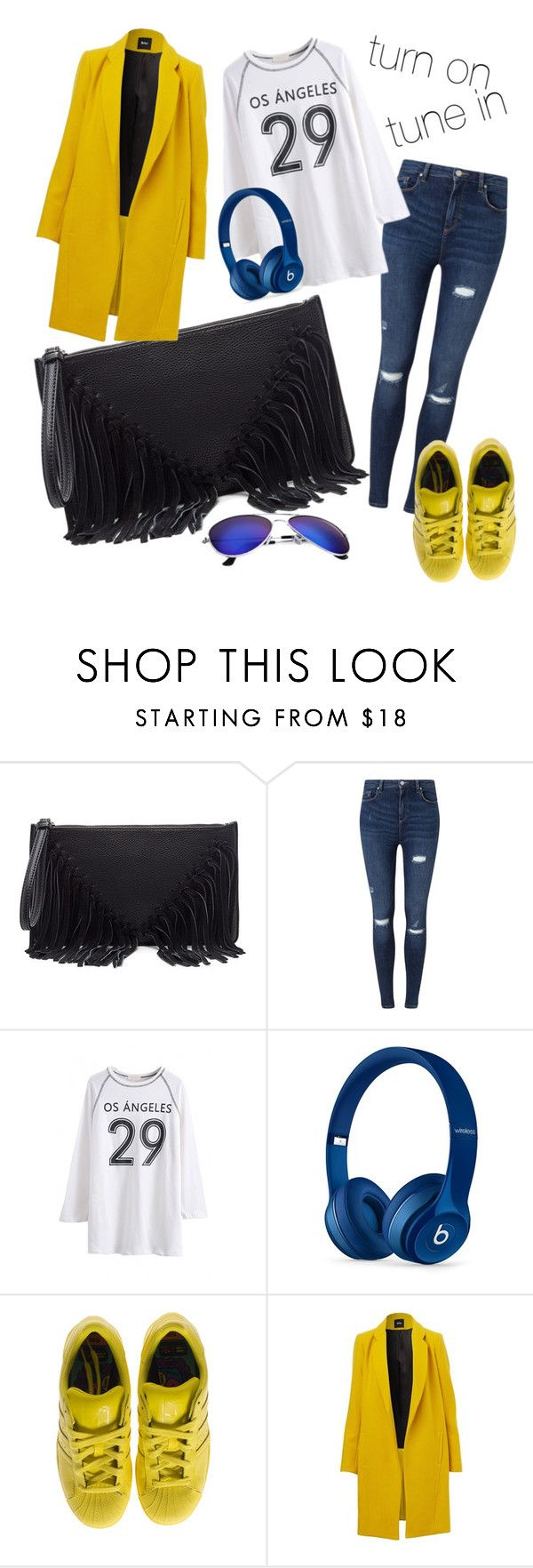 """""""turn on tune in"""" by sweetyincago ❤ liked on Polyvore featuring Sole Society, Miss Selfridge, Beats by Dr. Dre and adidas"""