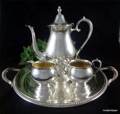 4 Piece Fb Rogers 1883 Silver Tea Set 2305 Teapot Creamer
