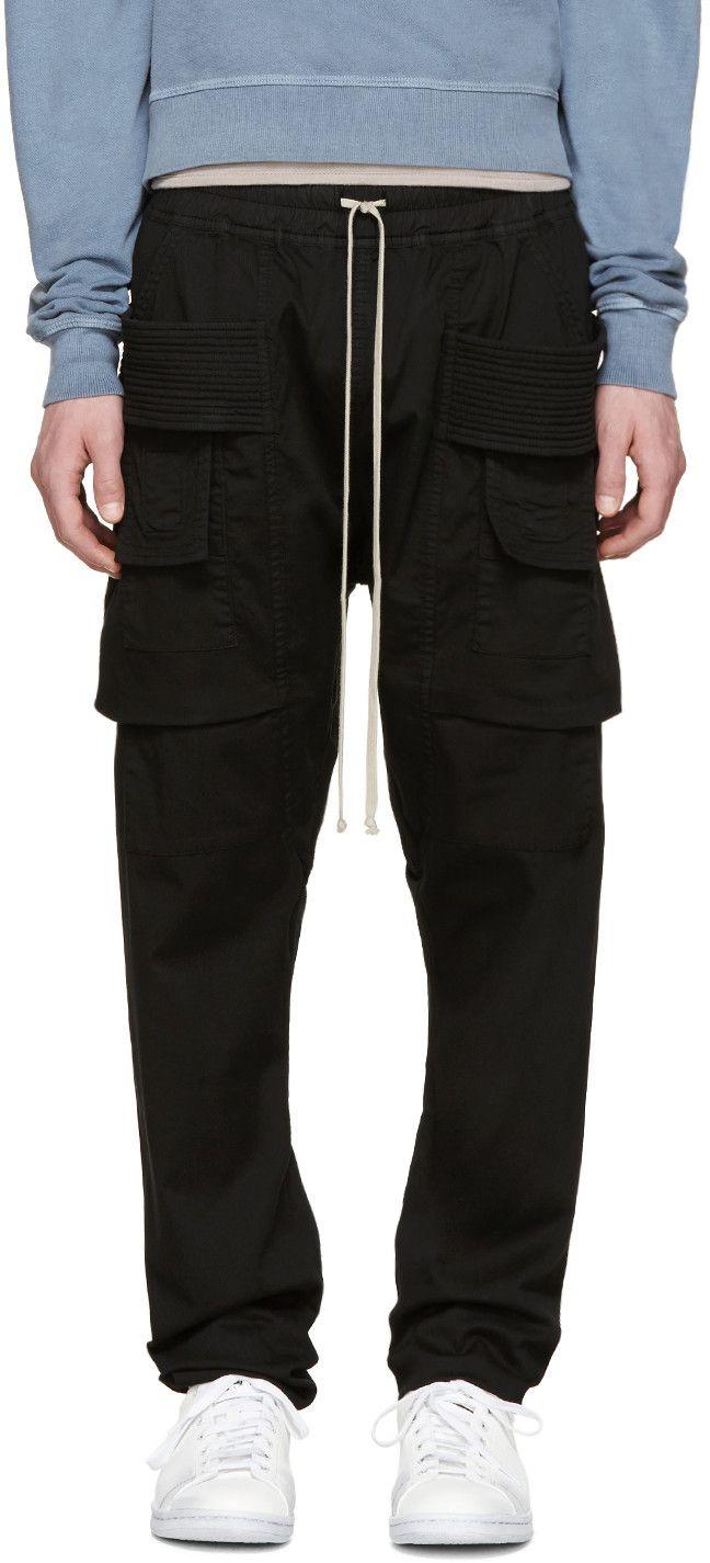 e645cf15aac6 RICK OWENS DRKSHDW Black Creatch Cargo Trousers.  rickowensdrkshdw  cloth   trousers
