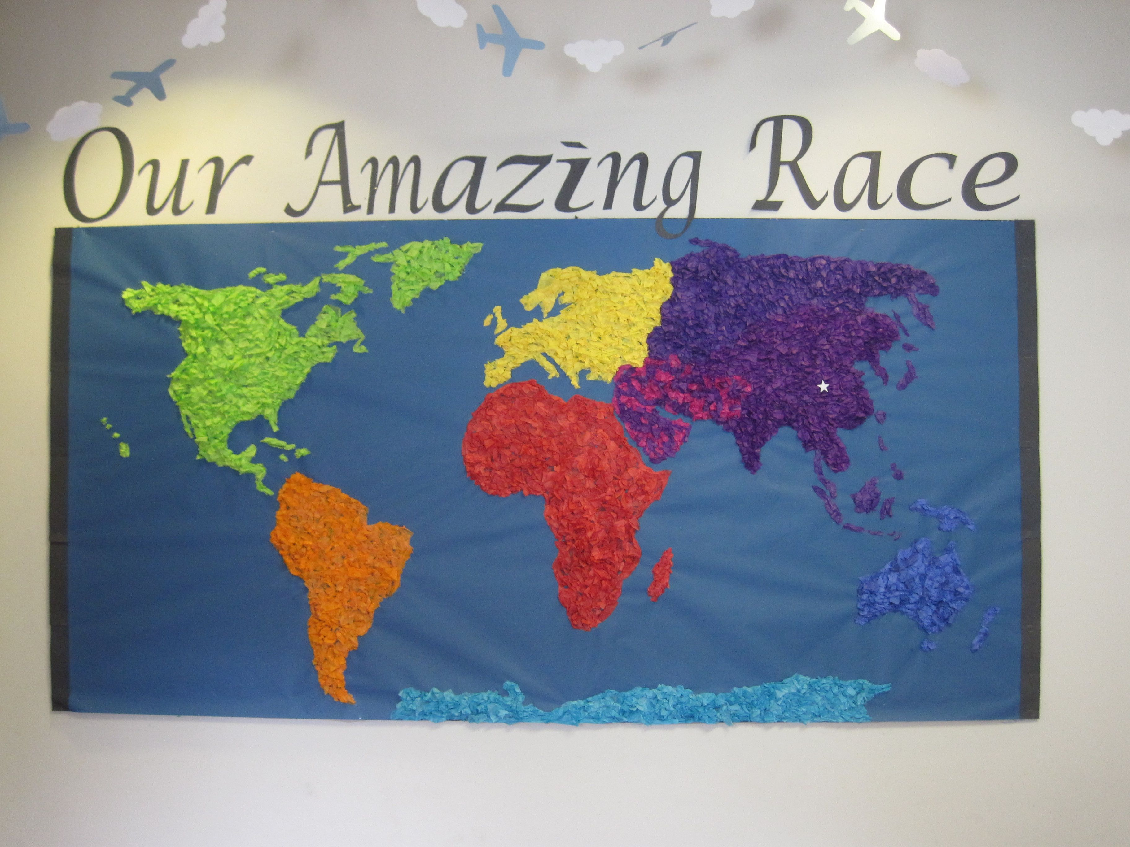 Camp Amazing Race Bulletin Board Idea, made from tissue paper ...