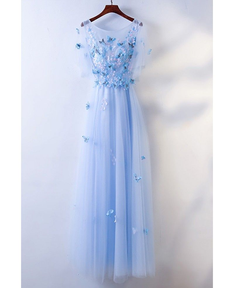 9374ce4c664 Cute Blue Flowy Long Cheap Prom Dress With Butterflies  MYX18091 -  GemGrace.com