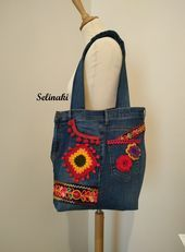Upcycled Jeans Bag with Crochet Flowers Large Tote Bag Granny Square Redbag Upcycled Jeans Bag with Crochet Flowers Large Tote Bag Granny Square Redbag Upcycled Jeans Bag...