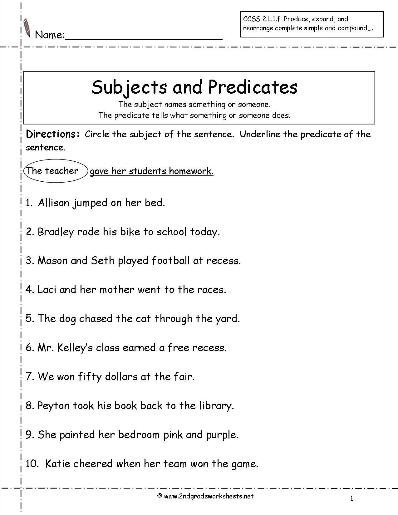 Complete and Simple Predicates Worksheet Subject Predicate ...