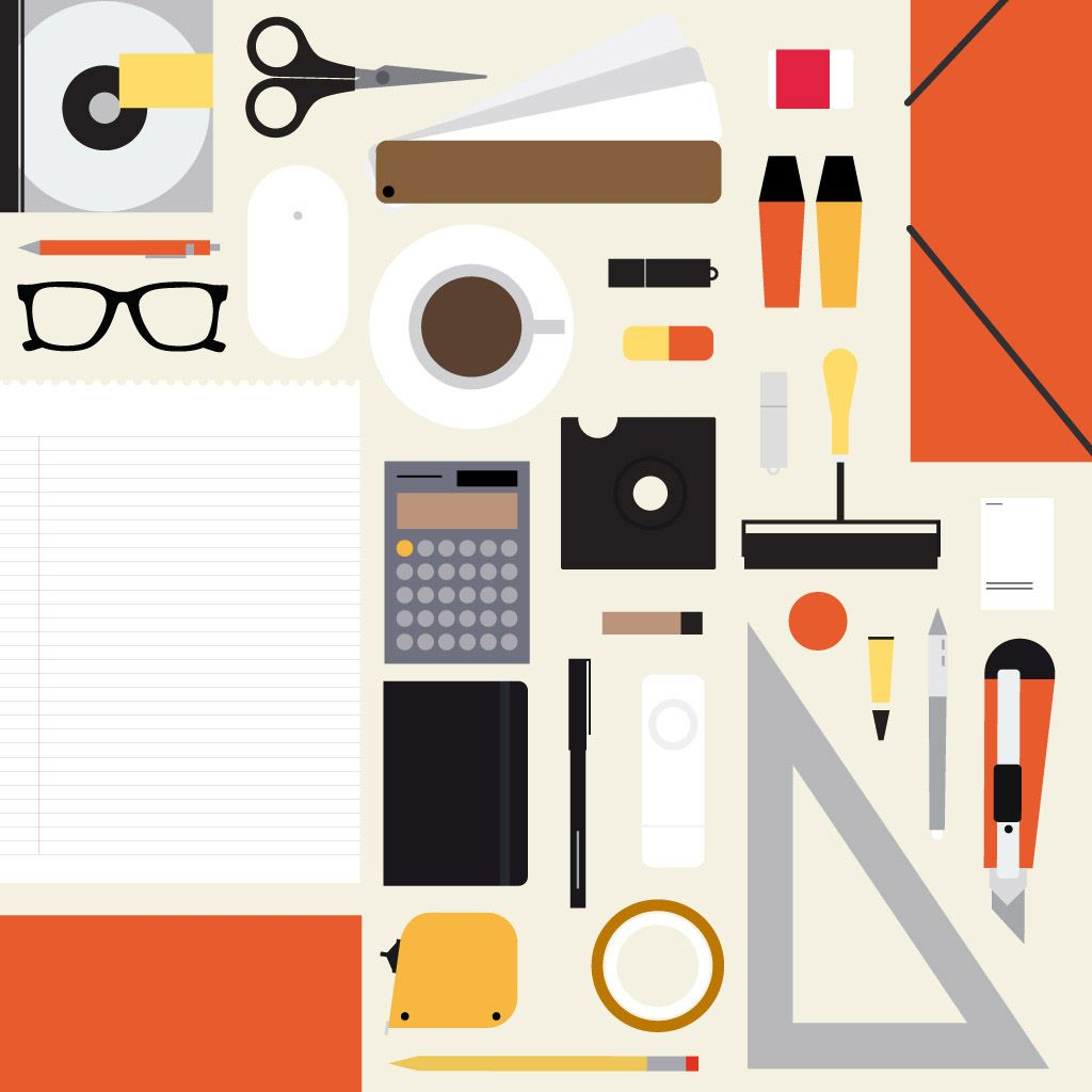 Cool icon-y illo. Who doesn't love office supplies?