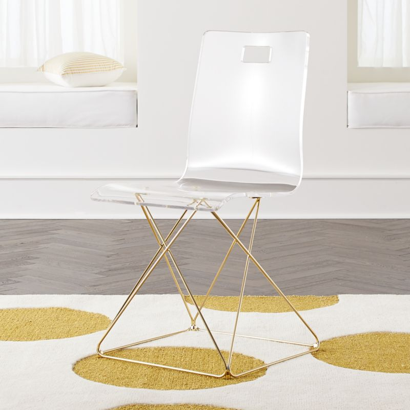 Kids Now You See It Acrylic Desk Chair With Gold Base Reviews Crate And Barrel Acrylic Desk Chair Desk Chair Gold Desk Chair