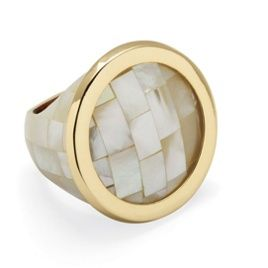 White Mother-Of-Pearl Tiled Circle Ring with Goldtone Rim at PalmBeach - only $29.99