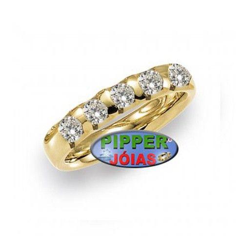 5147af8e70352 Anel em Ouro Amarelo 18k 750 com 5 Pedras de Diamante - AN006