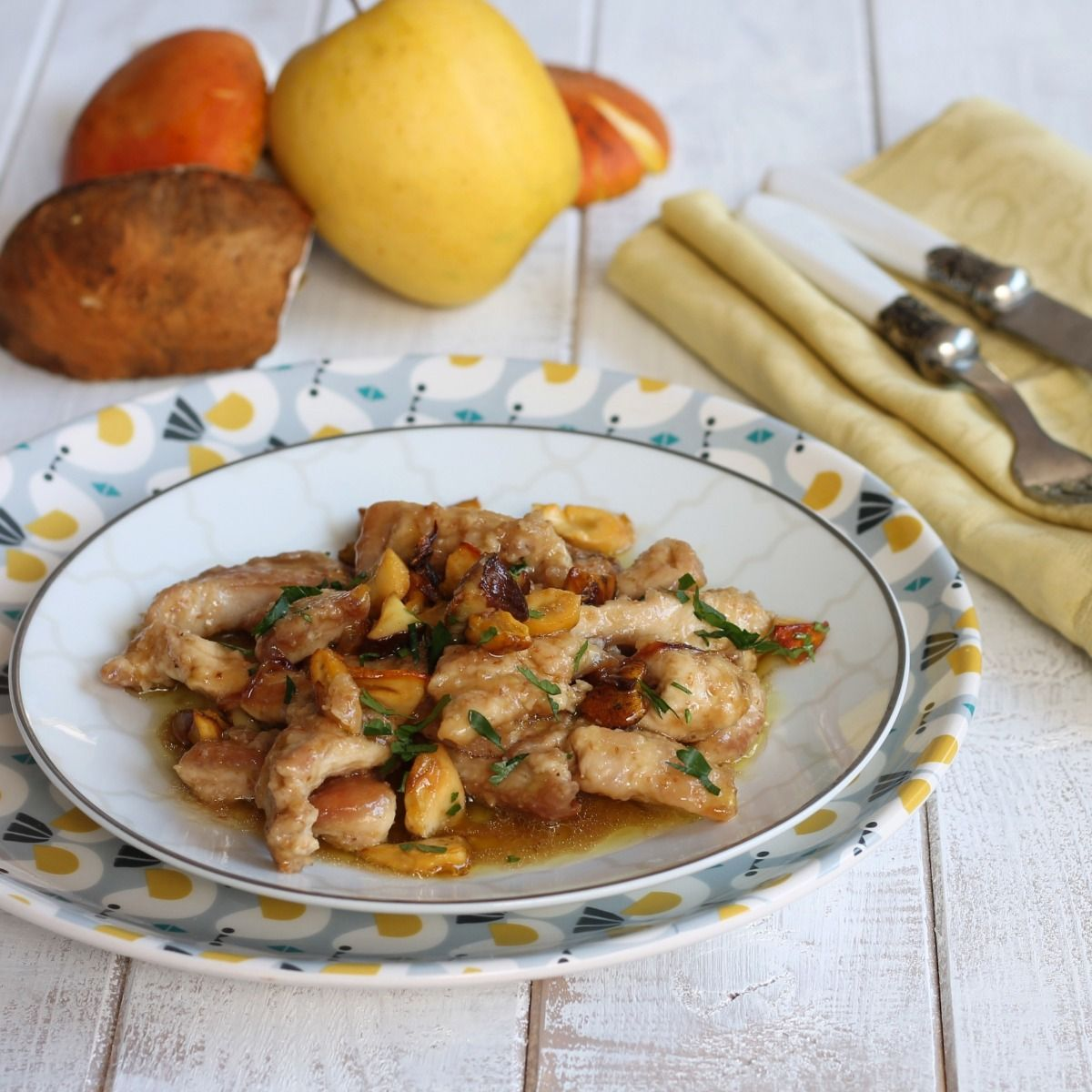 Photo of CHICKEN TOUCHES WITH MUSHROOMS AND APPLES