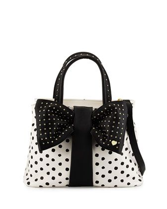 Bow-Tie+Polka-Dot+Shopper+Tote+Bag,+Black/White+by+Betsey+Johnson+at+Neiman+Marcus+Last+Call.