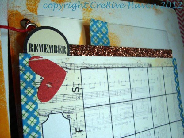Remember Love Mini Album calendar page with American Crafts glitter ribbon detail