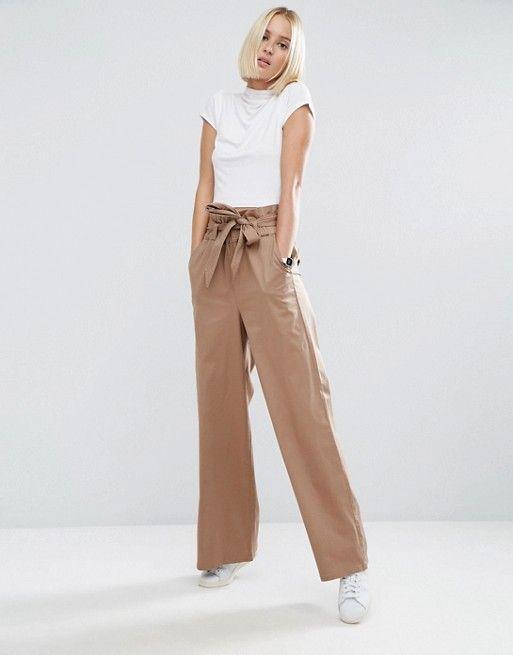 47b3f4d444 Pantalon large avec taille haute en 2019 | Mode | Pantalon large ...
