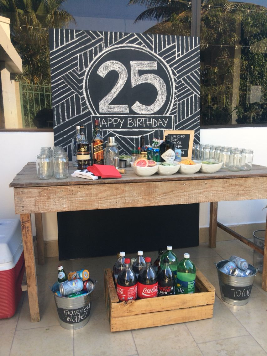 Quarter century birthday party bar table gin bar by www - Como decorar un bar ...