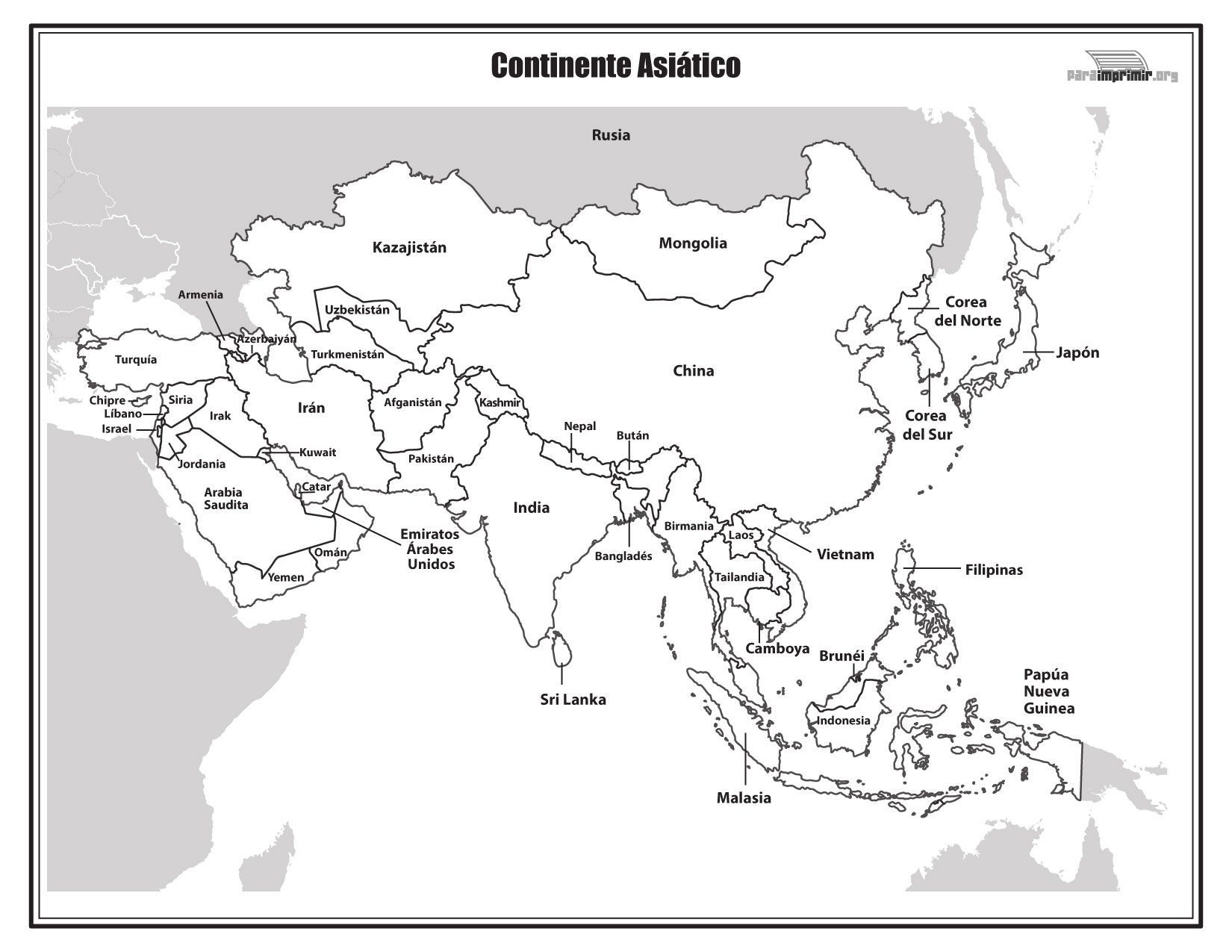 Resultado De Imagen Para Mapa De Asia Para Colorear Mapa De Asia Continente De Asia Mapa Asia Politico