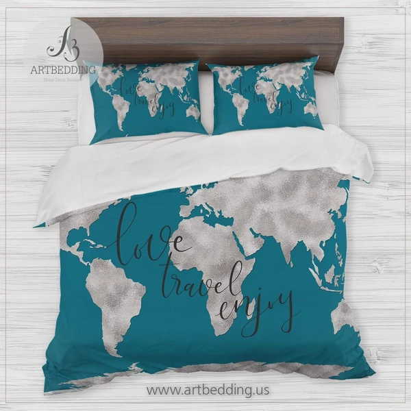 Pin On Wanderlust Watercolor Abstract Boho World Map Duvet Cover Set Collection New 2018