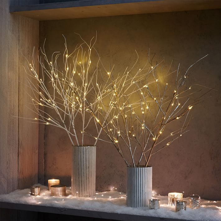 Lighted Twigs Home Decorating: Festive And Modern Holiday Lights! Our Battery-operated