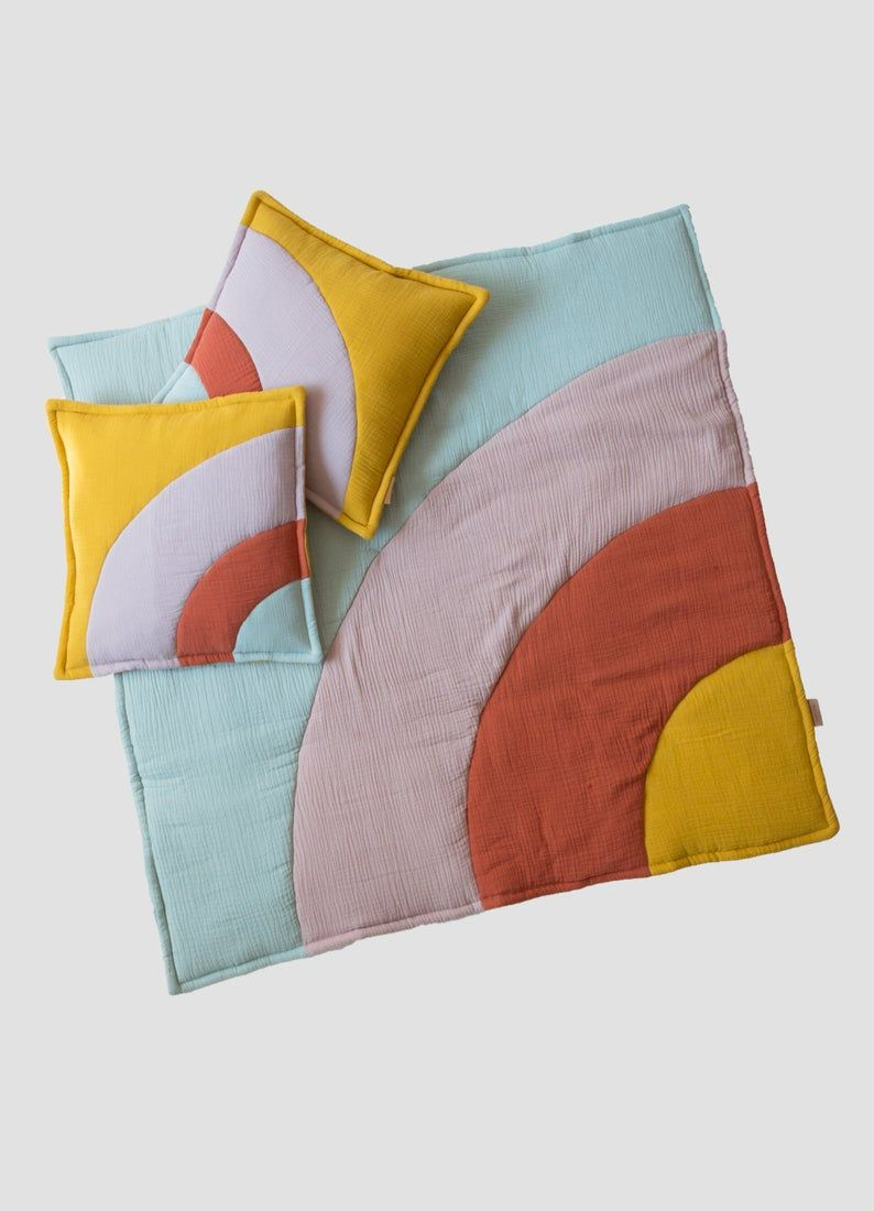 hjärtslag design - colorful rainbow cushion and play mat