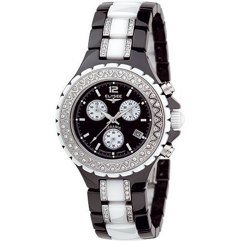 2a1a3cf36327 Reloj de mujer cronógrafo correa de cerámica   Marca   Elysee ...