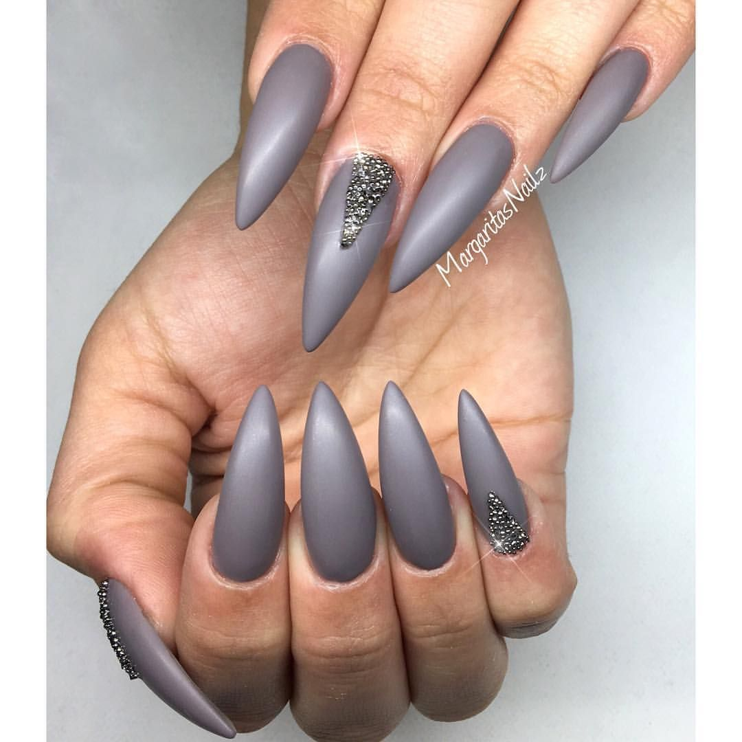 Grey matte stiletto nails Swarovski crystal pixie nail art ...