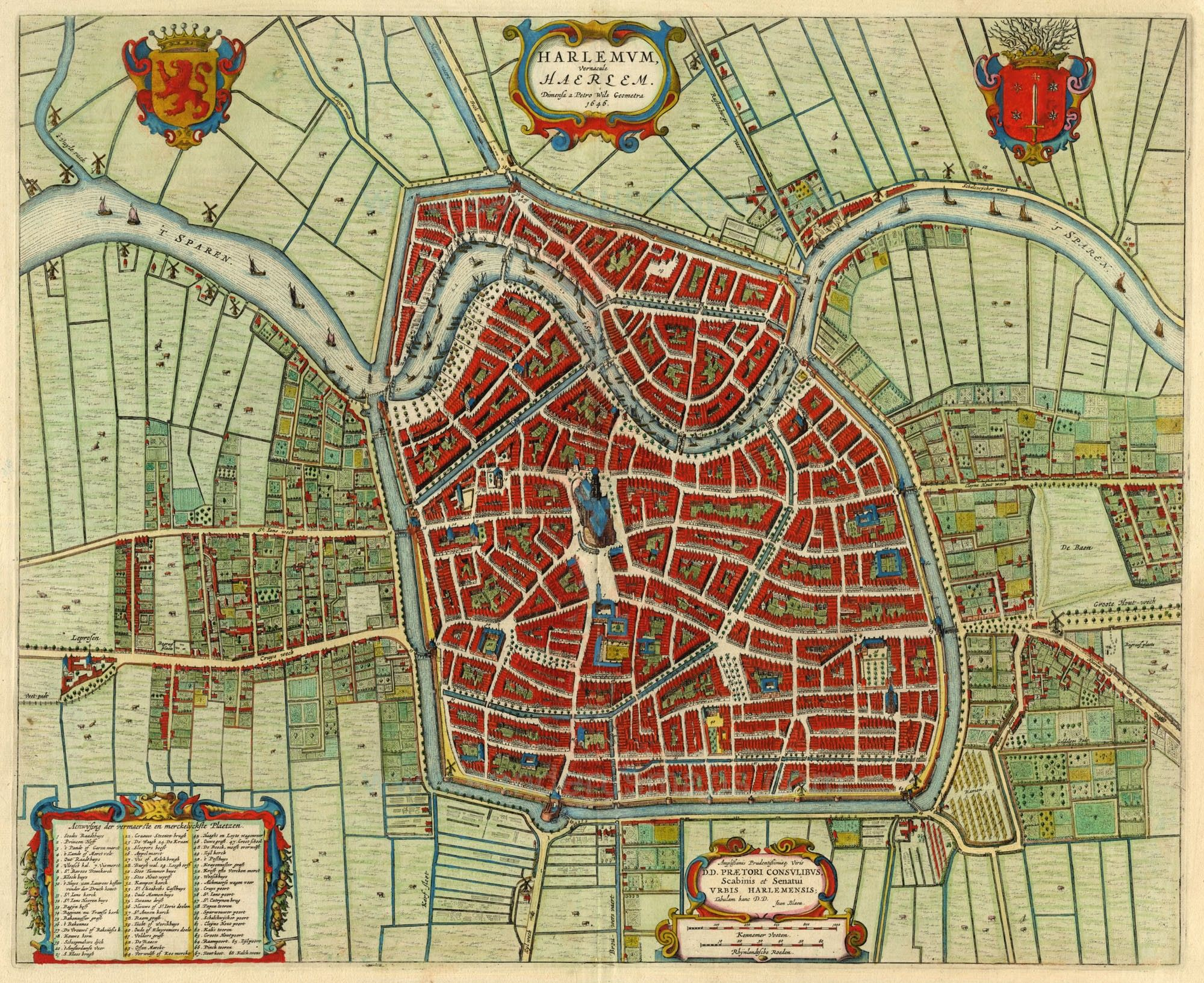Old, antique map - bird\'s-eye view plan of Haarlem by J. Blaeu ...