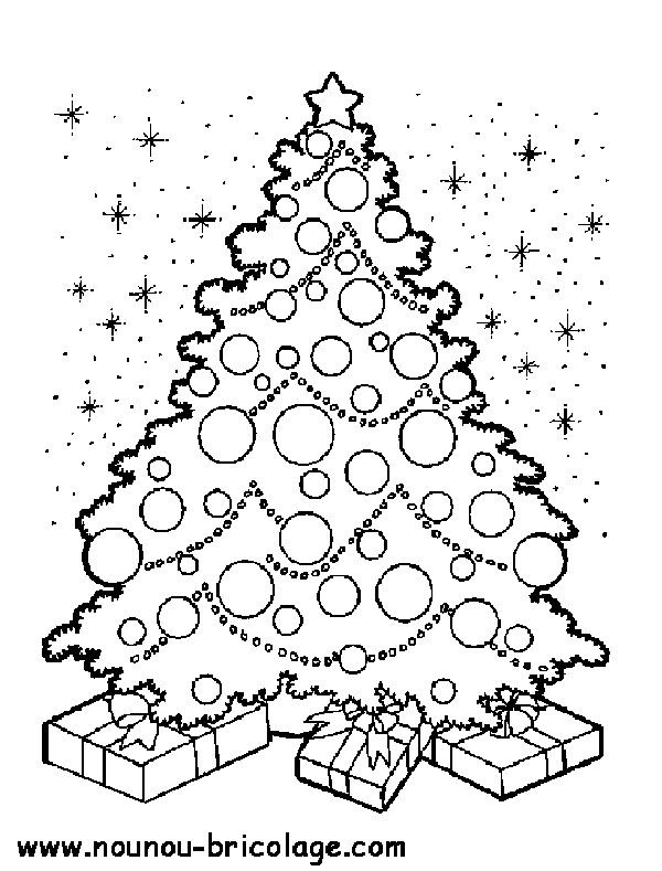 Coloriage Sapin de Noël et Le Ciel dessin gratuit à imprimer