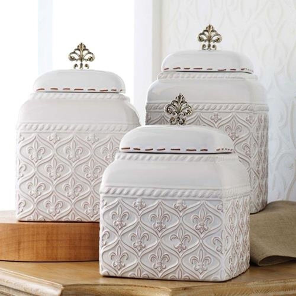 Mud Pie Ml6 Kitchen White Ceramic Fleur De Lis 3 Piece Canister Set 150093 Ceramic Kitchen Canisters Kitchen Accessories Decor Ceramic Kitchen Canister Sets