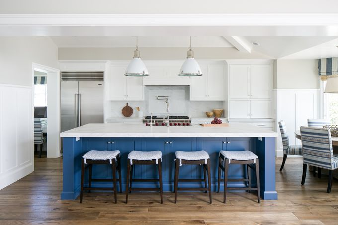 white kitchen with blue island | Brooke Wagner Design