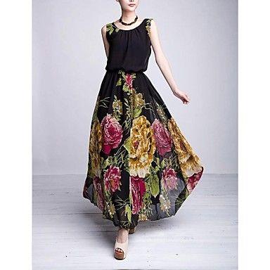 Moda O-cuello de la gasa floral del vestido de bola vestido de las mujeres – MXN $ 416.13
