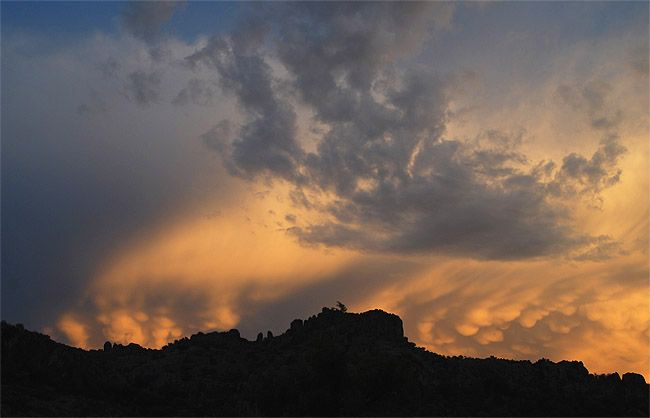 Dramatic sunset in the volcanic peaks of the Davis Mountains in west Texas.
