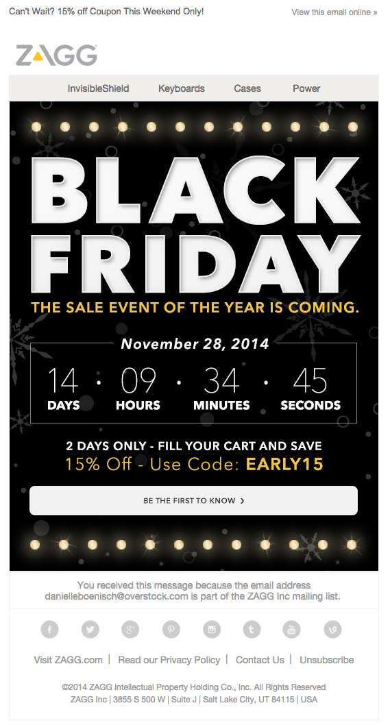 Zagg Black Friday Email 2014 Email Holidays Q4 Pinterest
