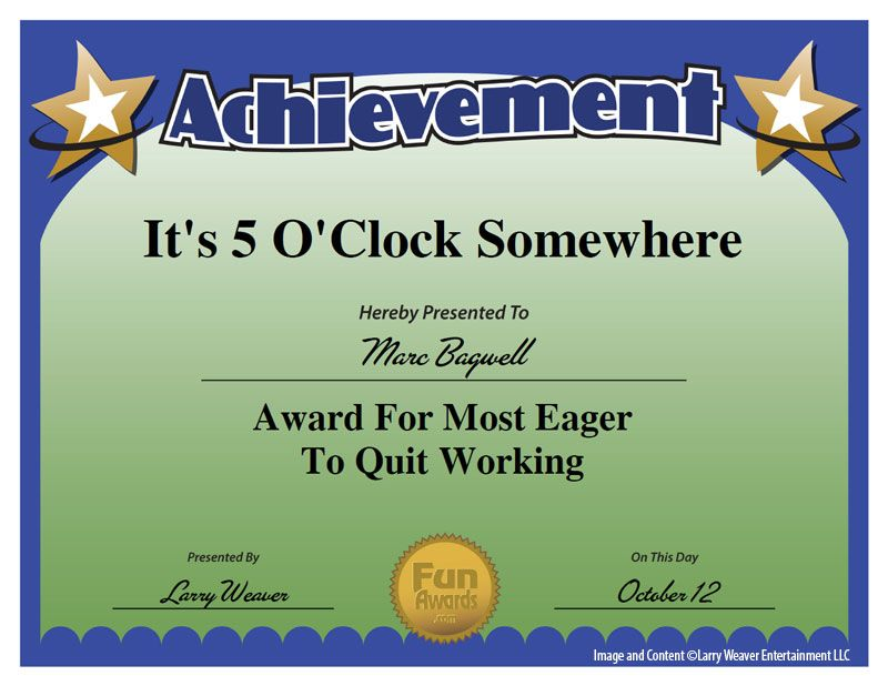 101 Funny Employee Awards By Comedian Larry Weaver Http://www.funawards.