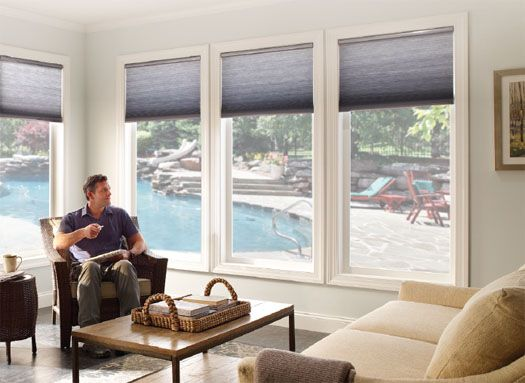 Sunroom window coverings motorized cellular shades sun for Budget blinds motorized shades