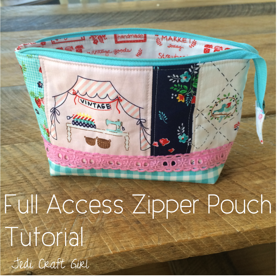Full Access Zipper Pouch Tutorial Sewing Pinterest Tas Kosmetik Bag Dompet Sj0002 How To Make This Cute Pieced And Quilted Fabric Used Here For Front Panel