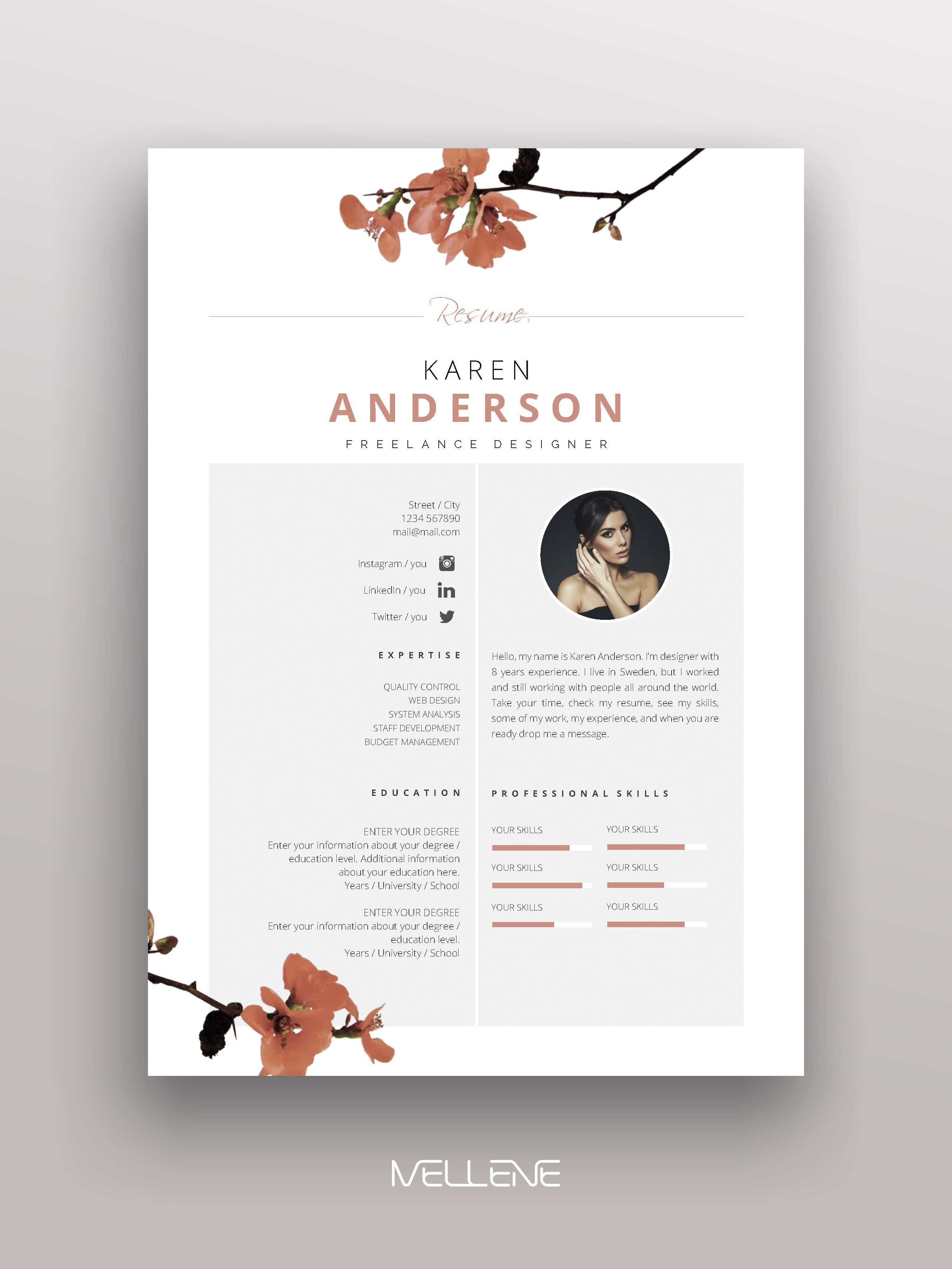 Resume Cv Template For Ms Word Professional Minimal Application Cover Letter Layout Inspiration Resume Design Cv Template Creative Cv
