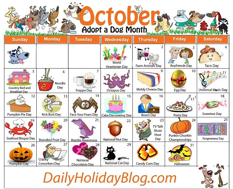 October Holiday Calendar