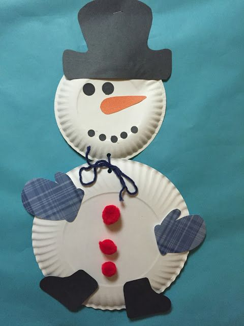 Snowman Paper Plate Preschool Craft