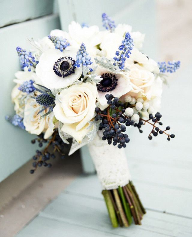 Found The 20 Best Wedding Blogs On The Internet Right Now Bridal Bouquet Blue Anemone Bouquet Wedding Blue Wedding Bouquet