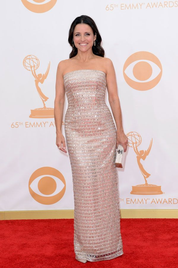 Julia Louis-Dreyfus in Georges Chakra wins the Emmy for Outstanding Lead Actress in a Comedy Series – 2013 Emmy Awards Red Carpet