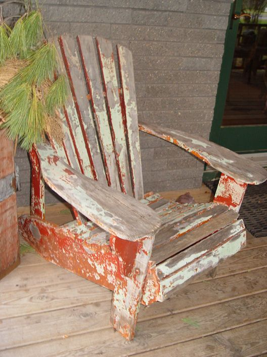 Original C 1930 S Antique Adirondack Chair Red And Green Paint