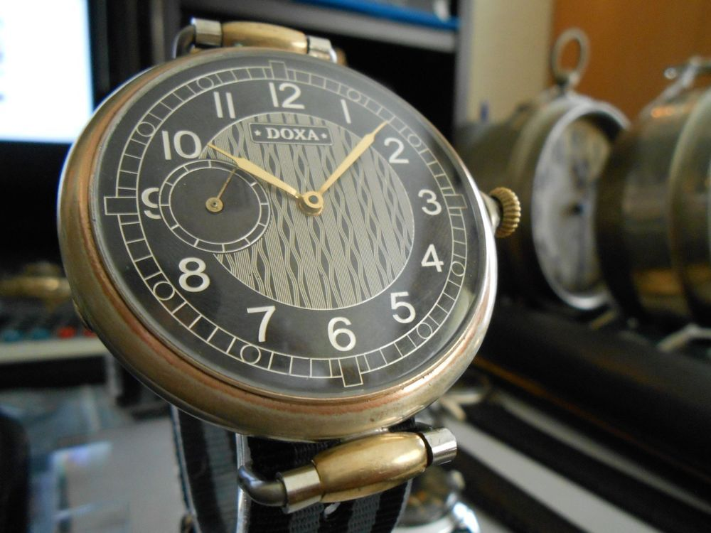 Antique 1930 S Doxa Locle Large Silver Pocket Wrist Watch