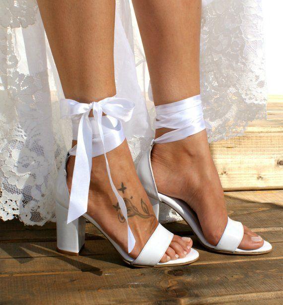 0a82c67e2 Block heel white leather wedding sandals  Handmade white leather ...