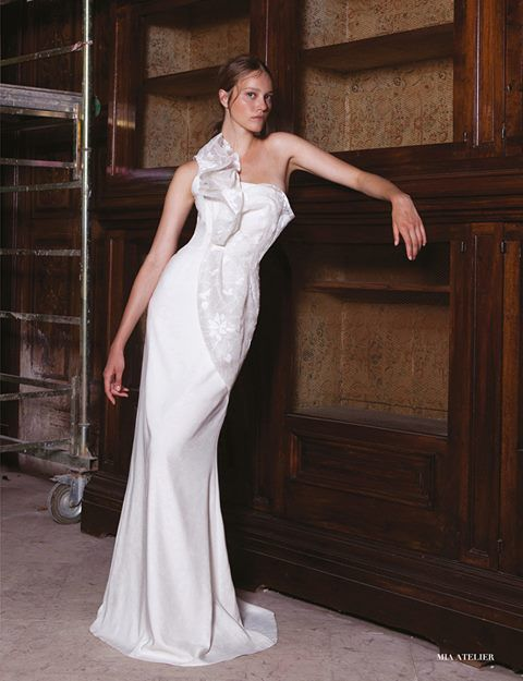 Classic mermaid dress with one shoulder and bodice dappery   Mia Atelier   Fall/Winter 2015/16