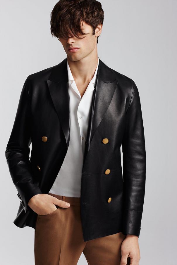 Jeffrey Rüdes Look #6 #men'sleatherjacket #men's #leather #jacket #runway
