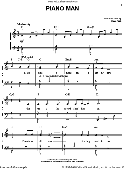 Joel - Piano Man, (beginner) sheet music for piano solo [PDF]