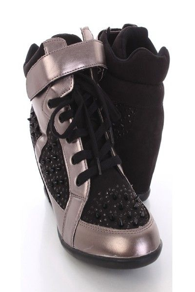 67d5df172538 sneaker wedges with spikes. Approximately 3 inch hidden wedge heels and 1 2  inch platforms.