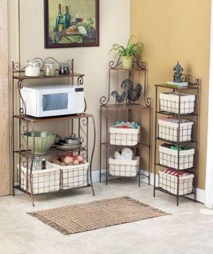 Kitchen Wood Metal Microwave Cart Bakers Rack Storage
